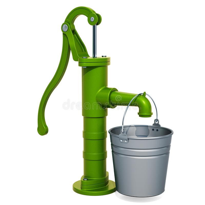 De pomp van het handwater met gegalvaniseerde emmer het 3d teruggeven vector illustratie