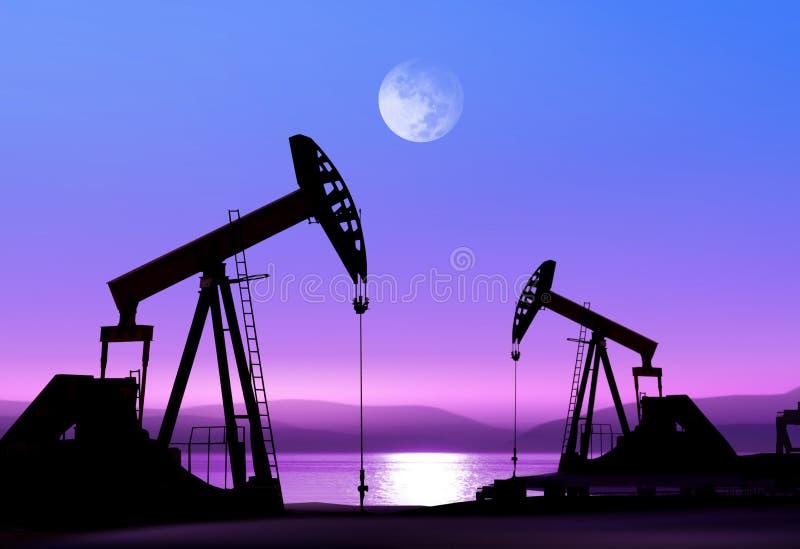De pompen van de olie bij nacht stock fotografie