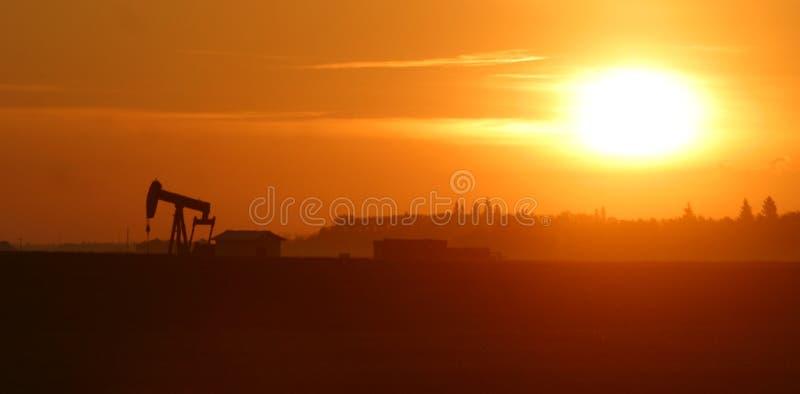 De pomphefboom van de olie bij zonsopgang stock foto