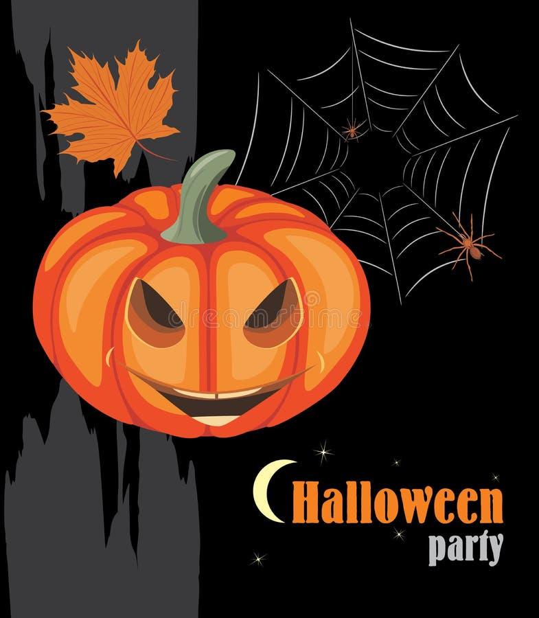 De pompoen en de spinnen van Halloween De partij van Halloween stock illustratie
