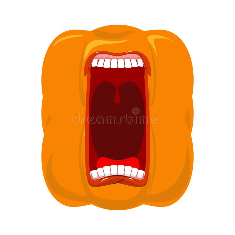 De pompoen gilt open mond voor Halloween pompoenschreeuw Vector royalty-vrije illustratie