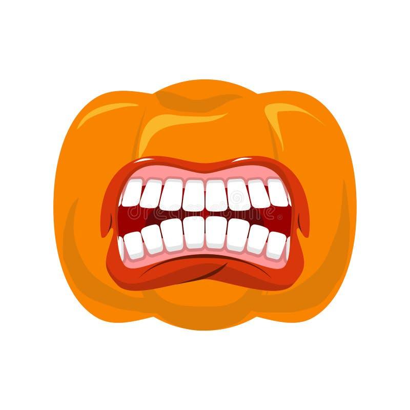 De pompoen gilt open mond voor Halloween pompoenschreeuw Vector vector illustratie