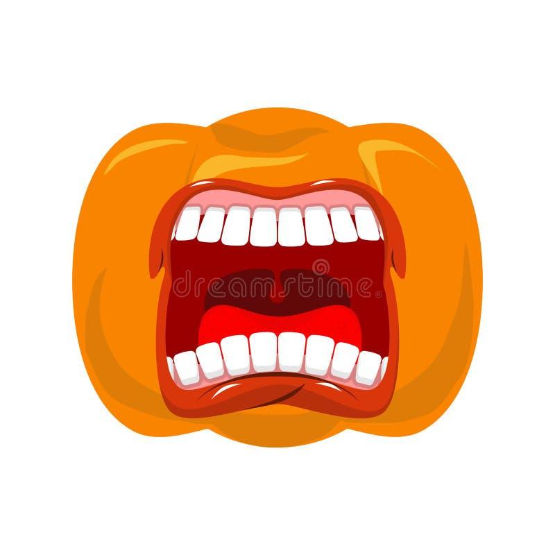 De pompoen gilt open mond voor Halloween pompoenschreeuw Vector stock illustratie