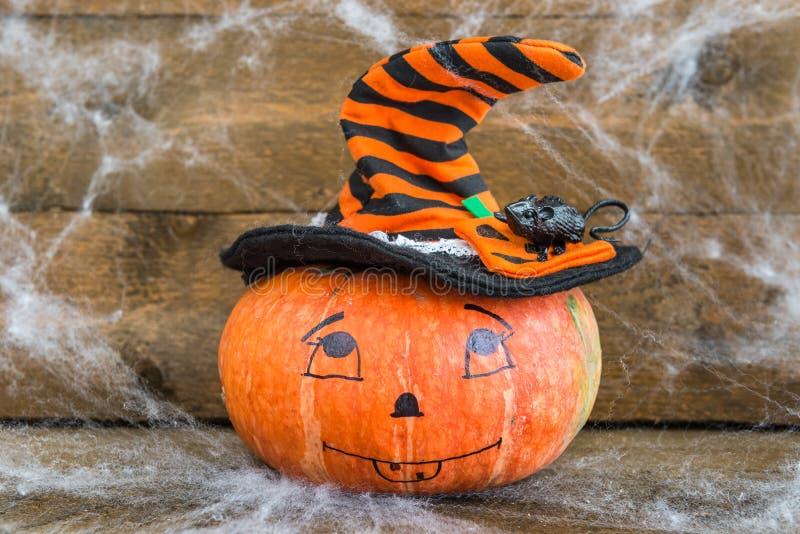 De pompoen, het spinneweb en de rat van Halloween stock afbeelding