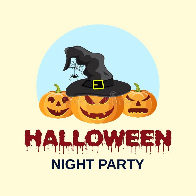 De Pompoen van Halloween met de Hoed van Heksen royalty-vrije illustratie