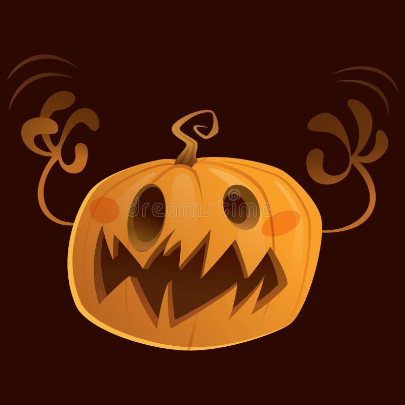 De pompoen van het het beeldverhaalkarakter van Halloween het enge truc of behandelen vector illustratie