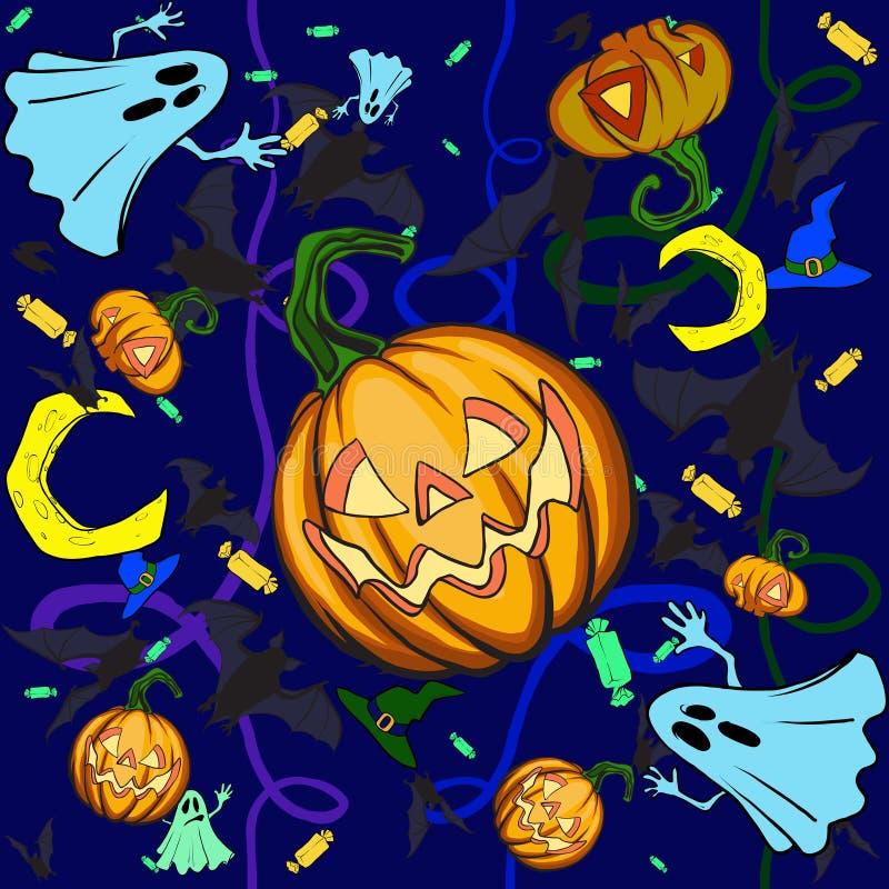 De pompoenachtergrond van Halloween stock illustratie
