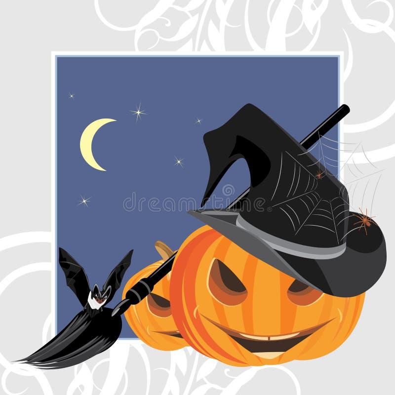 De pompoenen, de knuppel en de spinnen van Halloween. Het frame van de vakantie vector illustratie