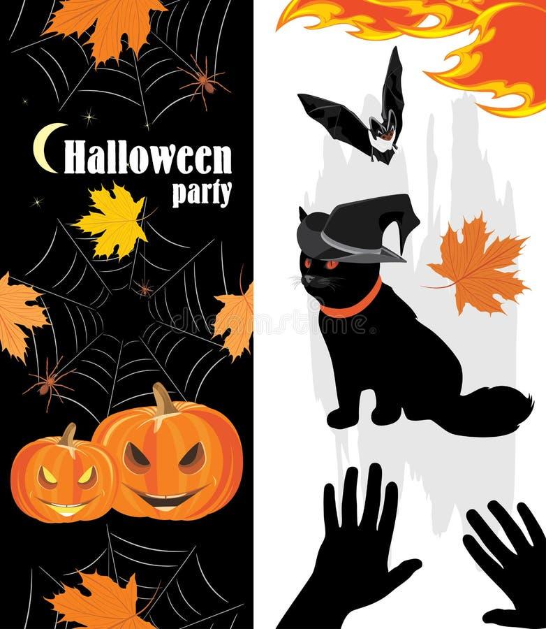 De pompoenen, de spinnen, de kat en de knuppel van Halloween Vakantievoorwerpen stock illustratie