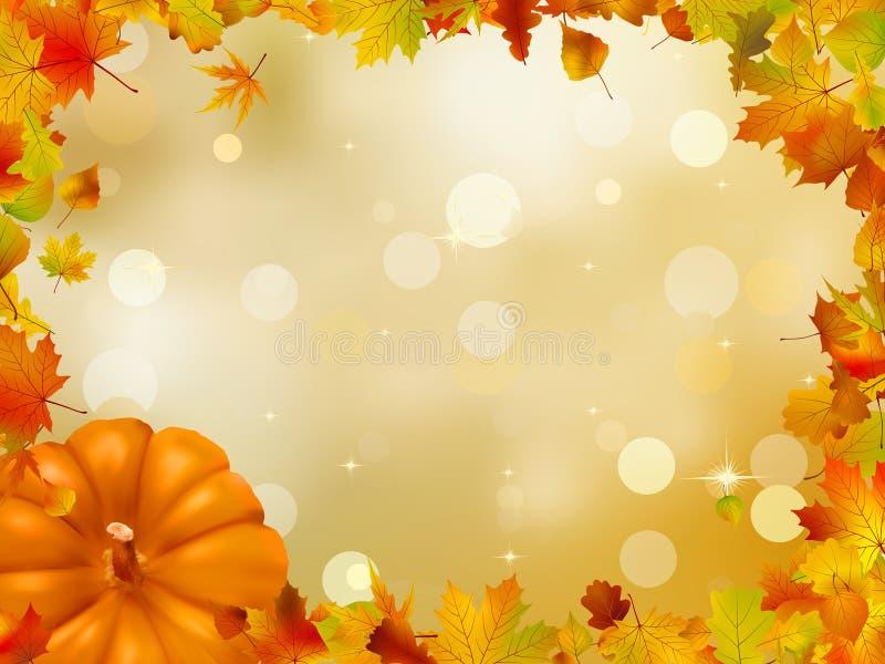 De Pompoenen en de bladeren van de herfst. EPS 8 vector illustratie