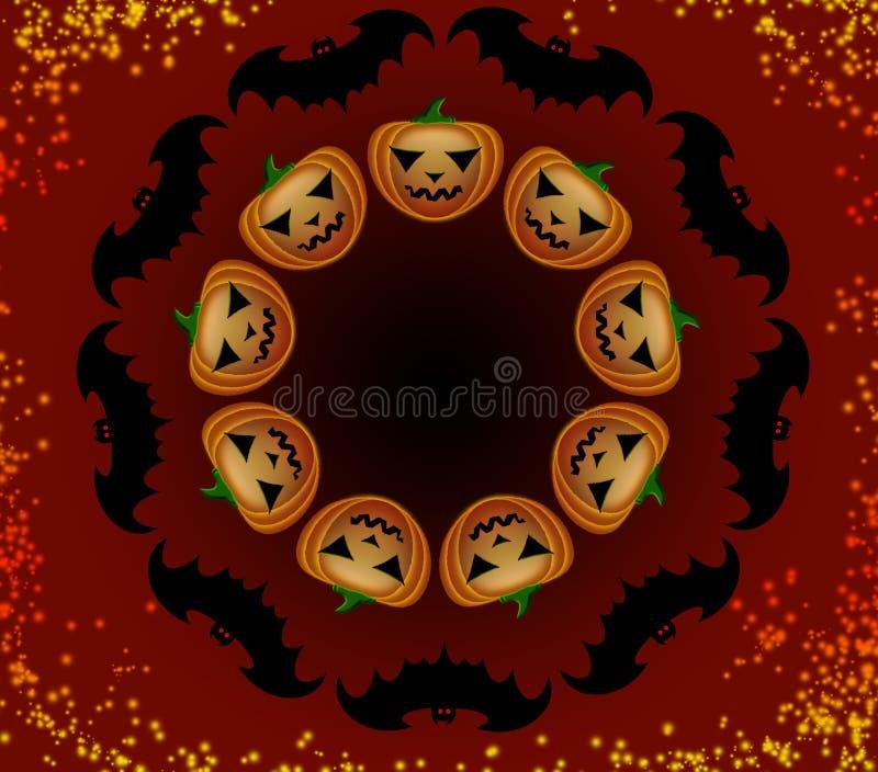De pompoenen en de knuppels van Halloween in een cirkel royalty-vrije stock foto