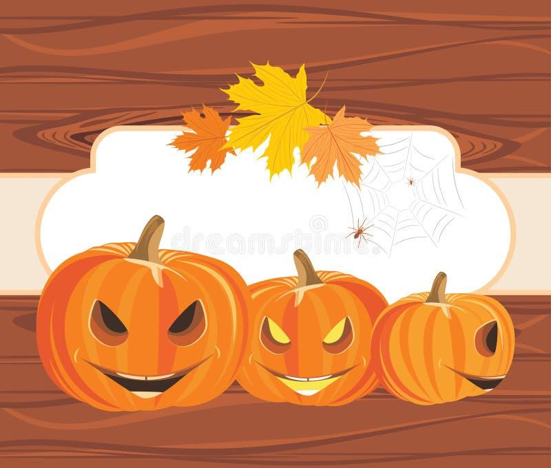 De pompoenen en de spinnen van Halloween op de houten achtergrond royalty-vrije illustratie