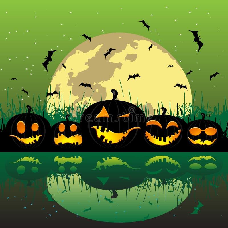 Download De Pompoenen Van Halloween Onder De Maan Vector Illustratie - Illustratie bestaande uit ontwerp, donker: 10777408