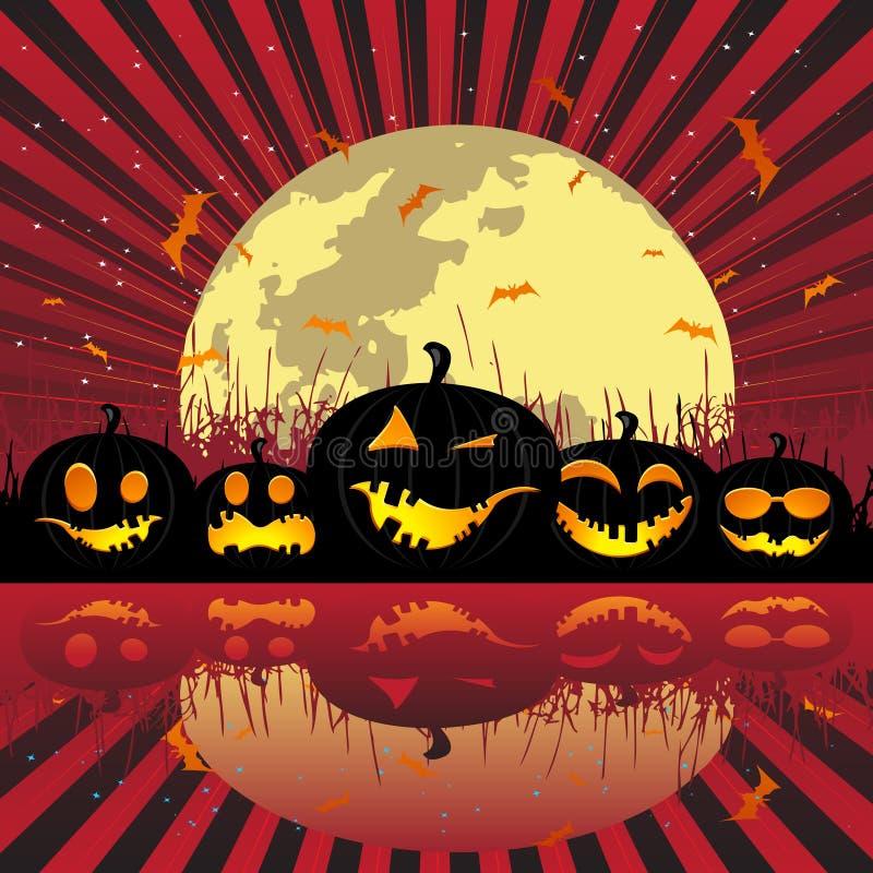 Download De Pompoenen Van Halloween Onder De Maan Vector Illustratie - Illustratie bestaande uit spook, gebeurtenis: 10777441