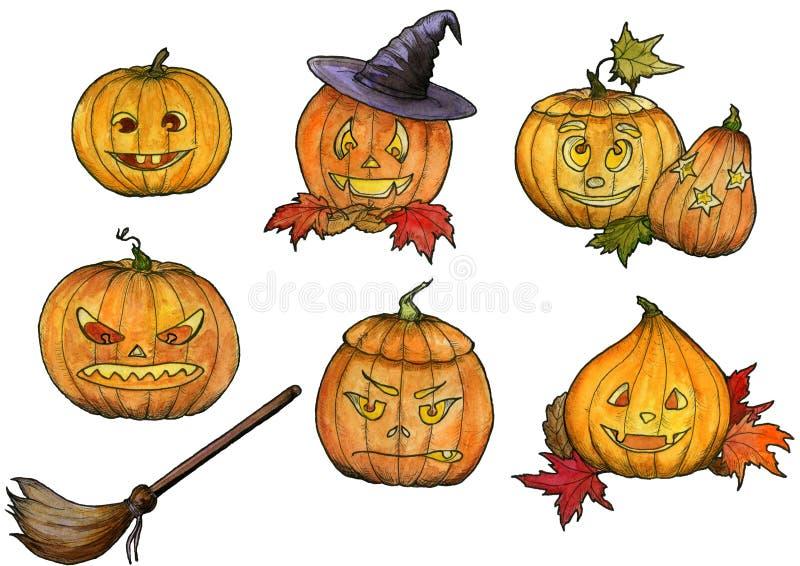 De pompoenen van tekeningshalloween met hoed, bezem, glimlachen en enge gezichten royalty-vrije illustratie