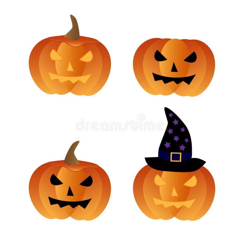 De pompoenenpictogrammen van Halloween royalty-vrije illustratie