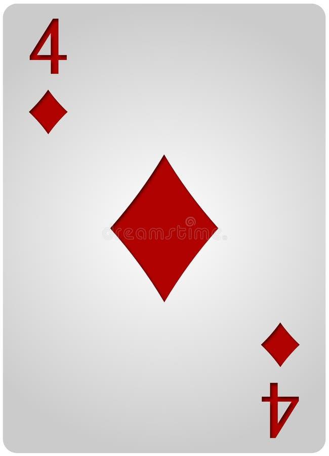 De pook van vier kaartdiamanten royalty-vrije illustratie