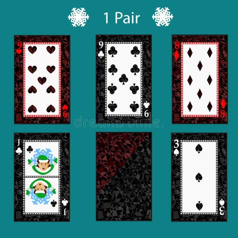 De pookcombinatie van de één paarspeelkaart Illustratie EPS 10 Op een groene achtergrond Om voor ontwerp, registratie, w te gebru stock illustratie