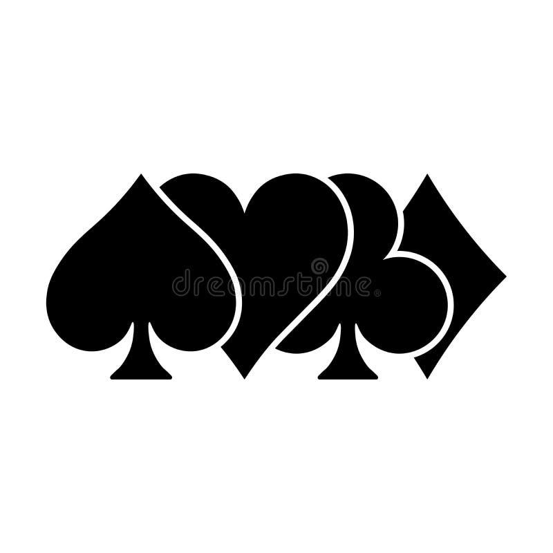 De pookkaart past - harten, clubs, spades en diamanten - op witte achtergrond aan Casino het gokken thema vectorillustratie stock illustratie