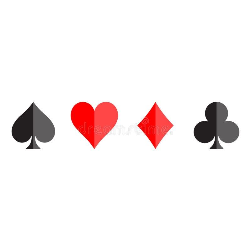 De pookkaart past - harten, clubs, spades en diamanten - op witte achtergrond aan Casino het gokken thema vectorillustratie royalty-vrije illustratie