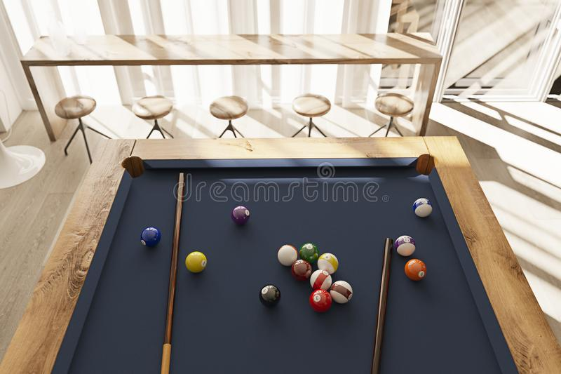 De poollijst in minimalistic binnenland met 3D zonsondergangstralen geeft terug stock illustratie