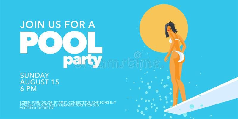 De poolpartij nodigt, banner met meisje op de springplank in de zwembad vectorillustratie uit royalty-vrije illustratie