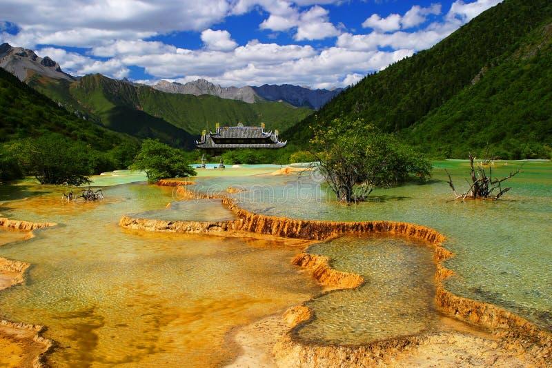 De pools van het kalksteen in Huanglong stock foto's