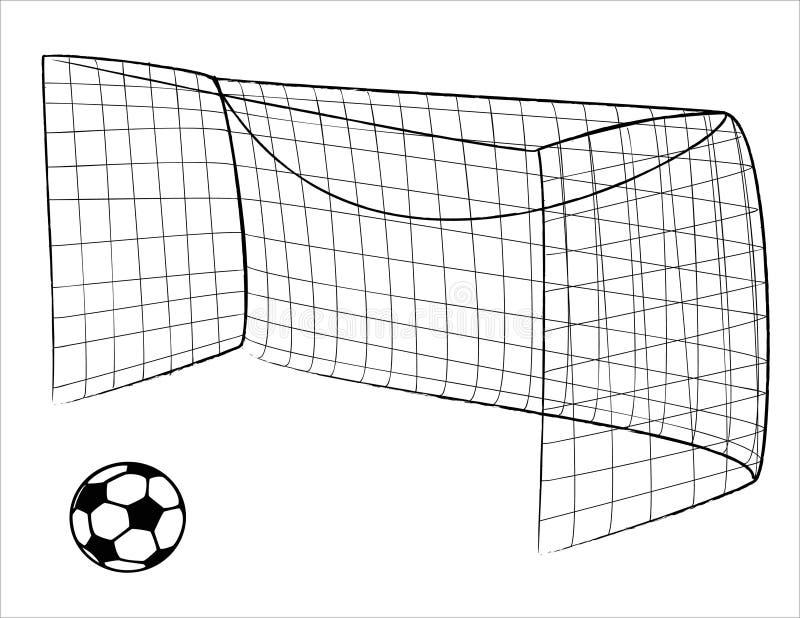 De poort en de bal van het voetbal royalty-vrije illustratie
