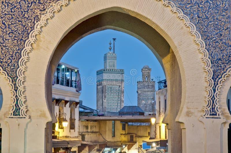 De poort van Bou Jeloud van Bab in Fez, Marokko stock foto's