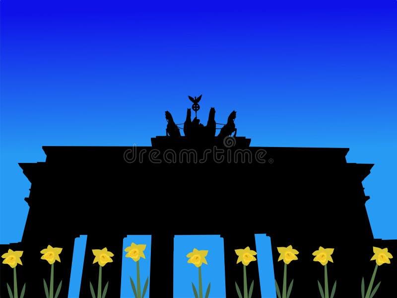 De poort van Brandenburg in de lente royalty-vrije illustratie