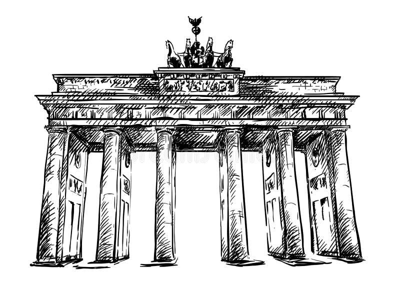 De Poort van Brandenburg. Vectorschets. royalty-vrije illustratie