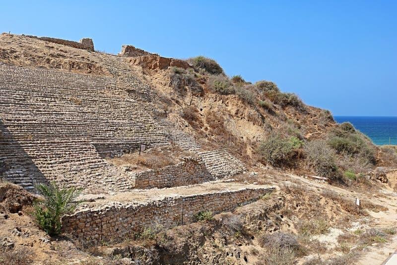 De poort van de Canaanitestad in Ashkelon, Israël, Midden-Oosten royalty-vrije stock afbeelding
