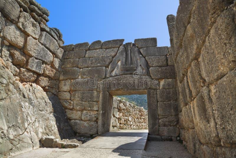 De Poort van de leeuw in Mycenae, Griekenland stock afbeelding