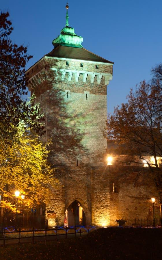De Poort van Florianska in Krakau stock foto's