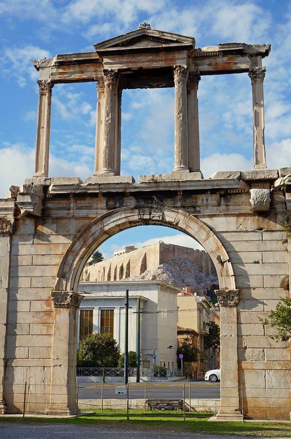 De Poort van Hadrian in Athene stock afbeelding