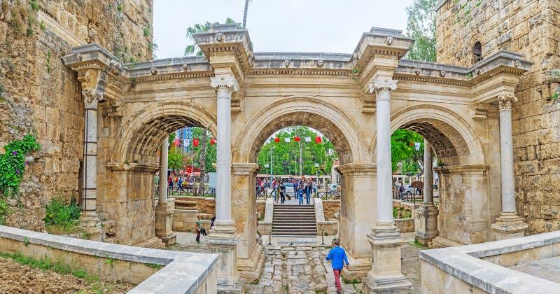 De Poort van Hadrian ` s in Antalya royalty-vrije stock foto's