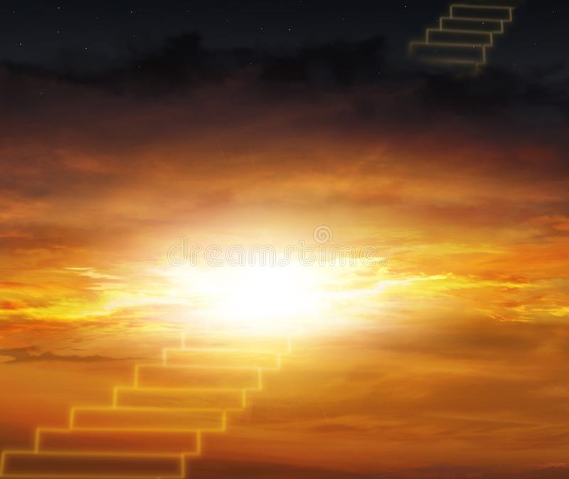 De poort van de hemel Trap aan de hemel Manier aan succes royalty-vrije stock afbeelding