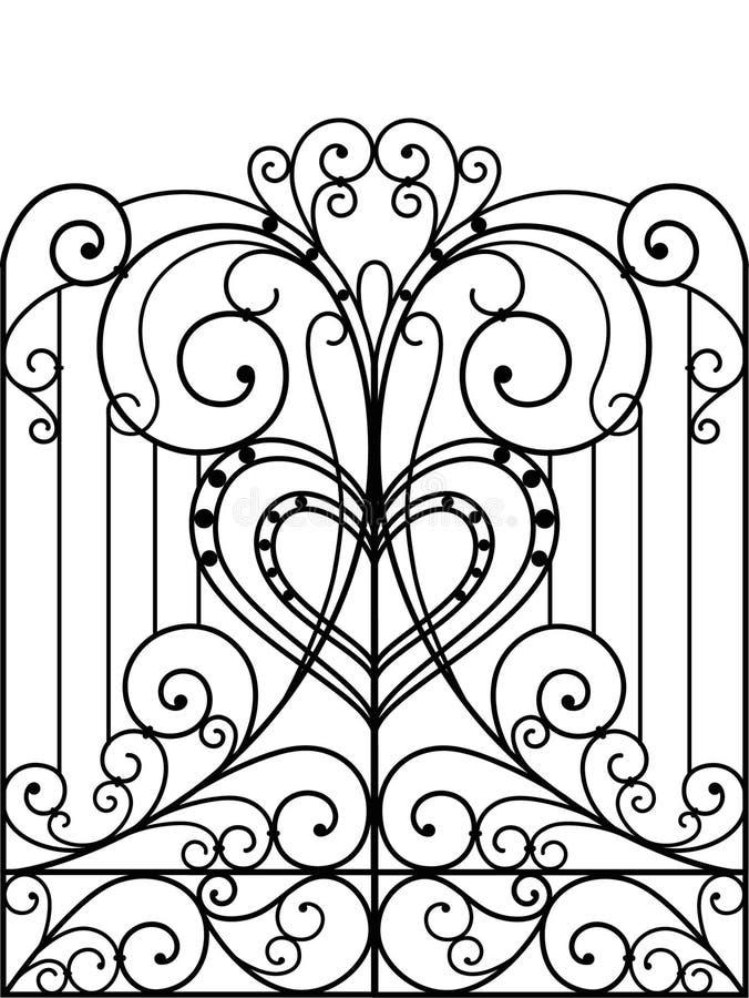 De poort van het smeedijzer royalty-vrije illustratie