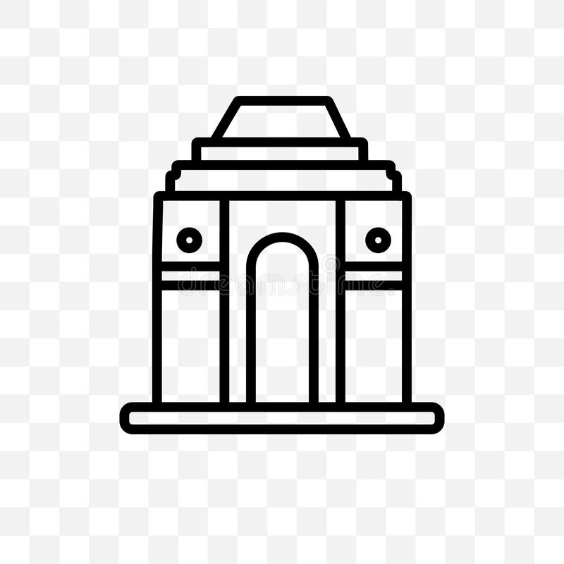 De poort van het vector lineaire die pictogram van India op transparante achtergrond, Poort wordt geïsoleerd van de transparantie vector illustratie