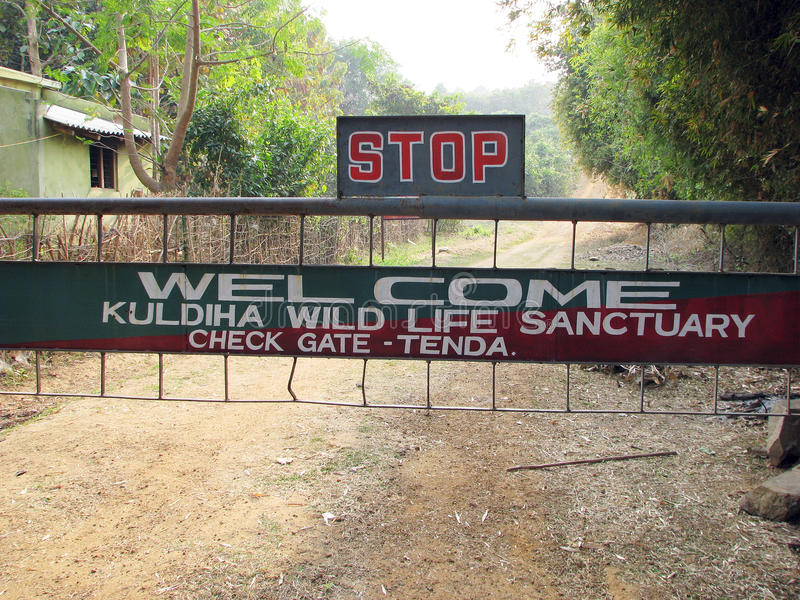 De poort van het Wildreservaat van Kuldiha stock foto's