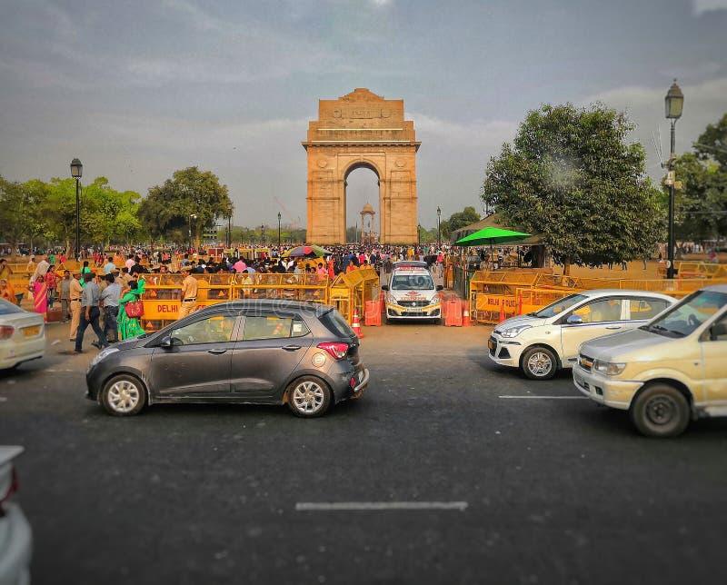 De poort van India, Delhi stock foto's