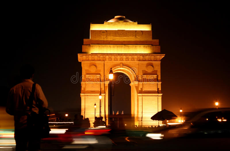 De Poort van India 's nachts in New Delhi royalty-vrije stock foto