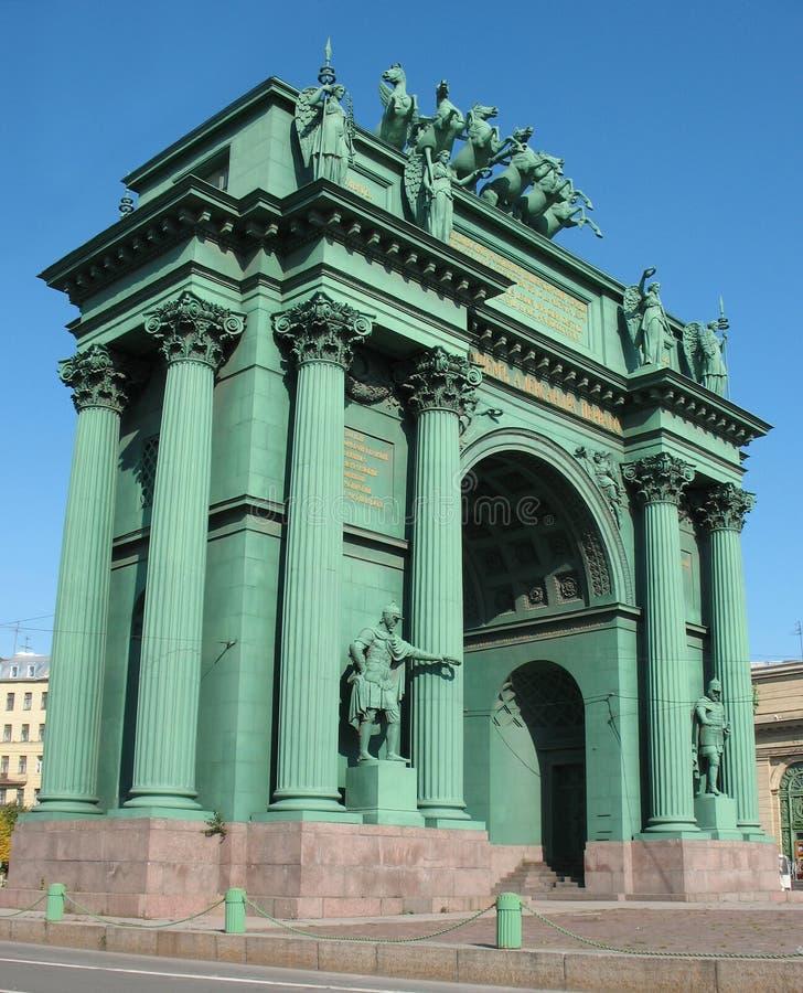 De poort van Narvskije. Triomfantelijke boog royalty-vrije stock foto