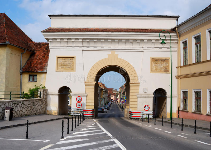 De Poort van Schei in Brasov stock foto's