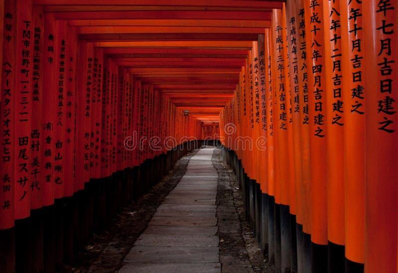 De poorten van Torii in Fushimi Inari, Kyoto stock afbeelding