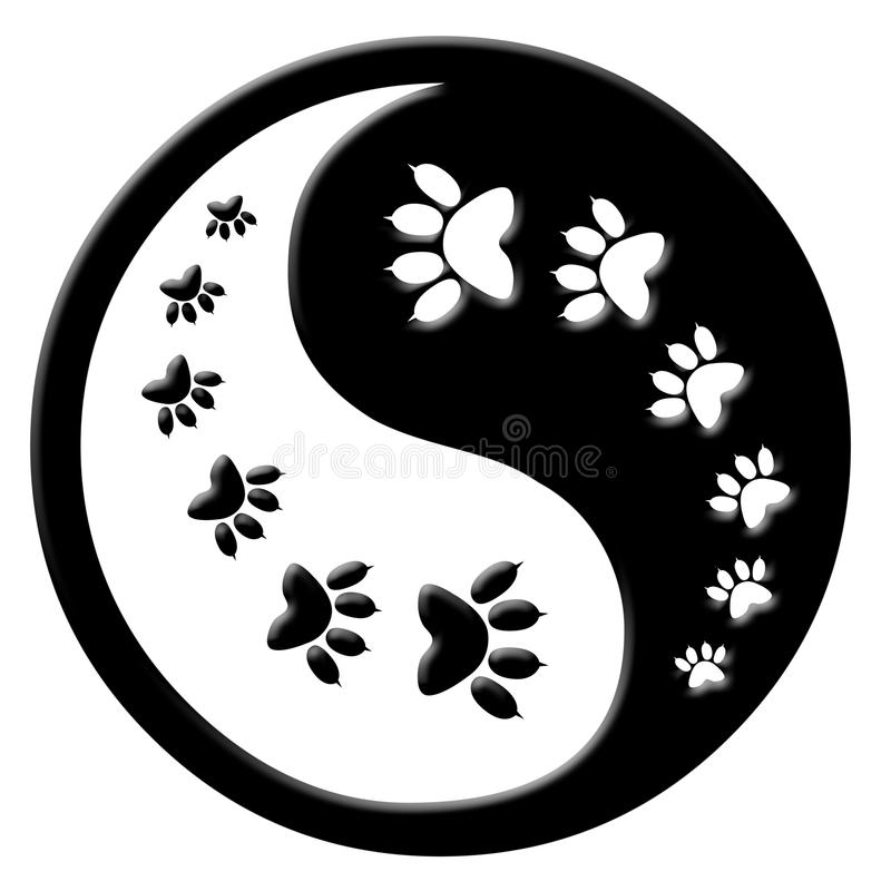 De pootaf:drukken van de kat yin yang stock illustratie