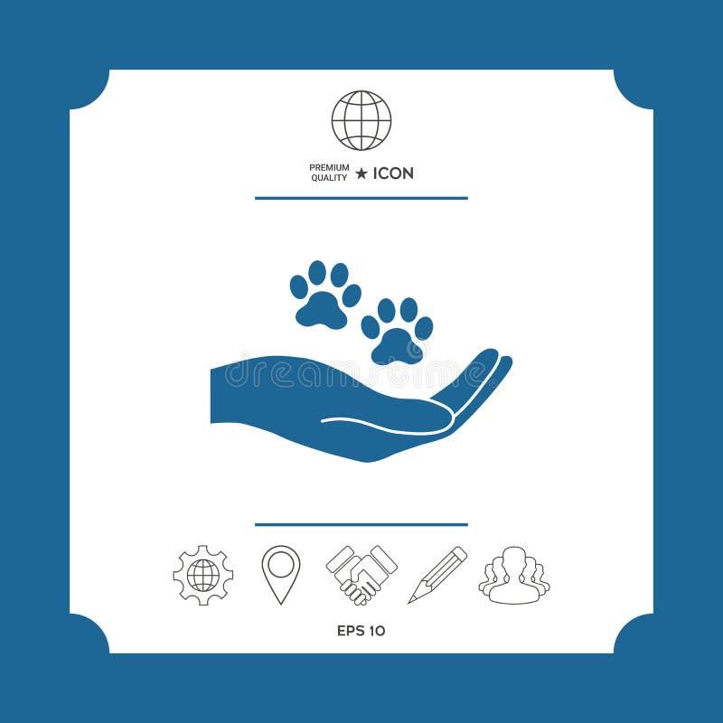 De pootsymbool van de handholding Dierenbescherming vector illustratie