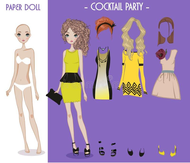 De pop van het beeldverhaalmeisje met kleren voor veranderingen vector illustratie