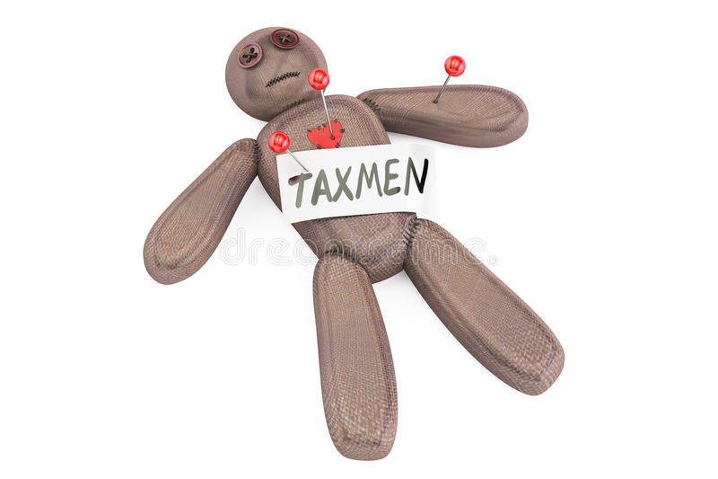 De pop van het belastingontvangervoodoo met naalden, het 3D teruggeven vector illustratie