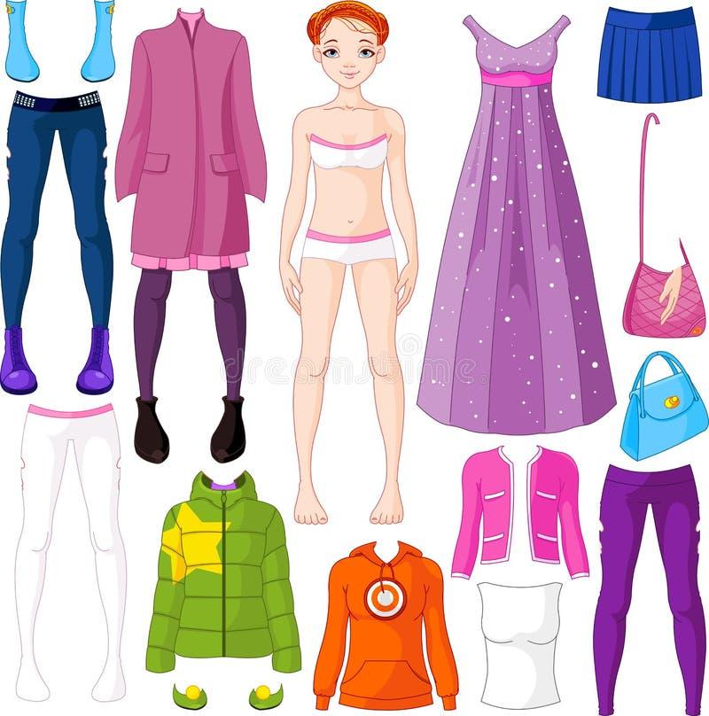 De pop van het document met kleding stock illustratie